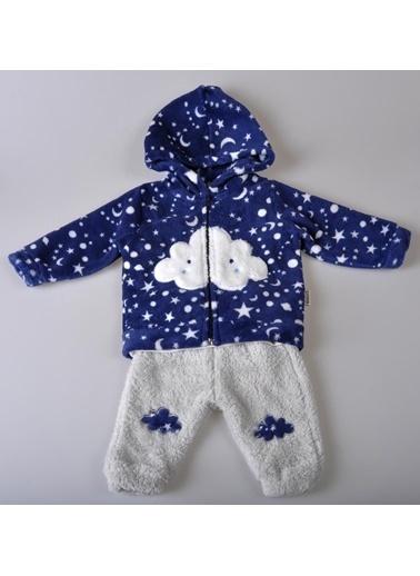 POKY Yeni Sezon Erkek Bebek 9-18 Ay Bulut Desenli Fermuarlı Polar 3'Lü Takım-4839 Lacivert